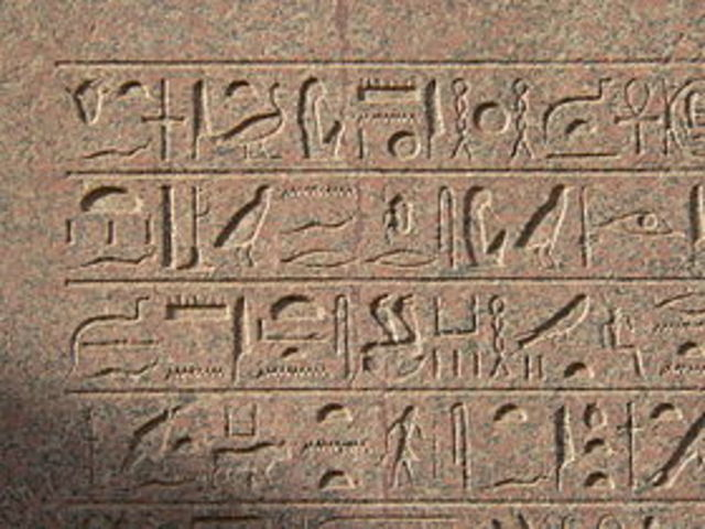 Escritura jeroglífica en Egipto.