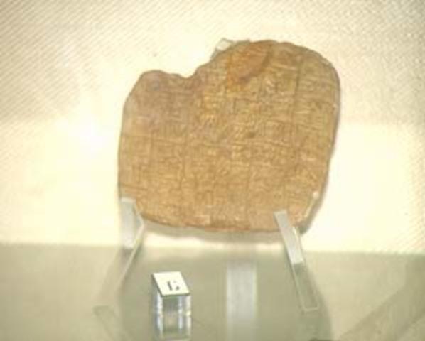 Escritura pictográfica en tablas de arcilla cocidas en Mesopotamia.