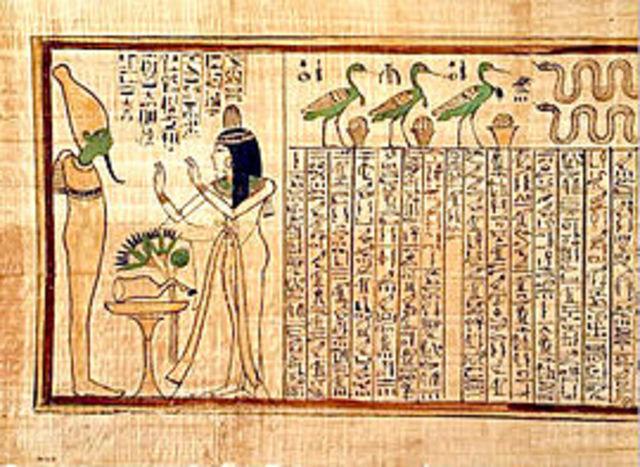 Primeros documentos de escritura jeroglífica en Egipto.