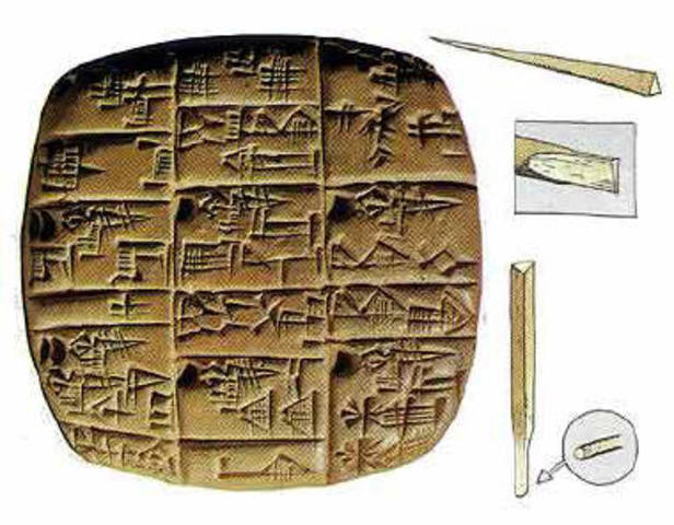La escritura mesopotámica se convierte en cuneiforme.