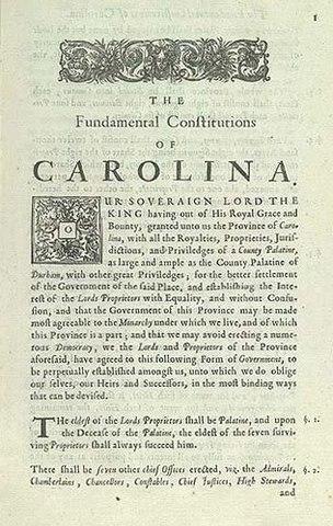 Locke drafted The Fundamental Constitutions of Carolina