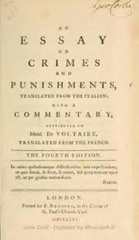Beccaria publishes On Crime and Punishment