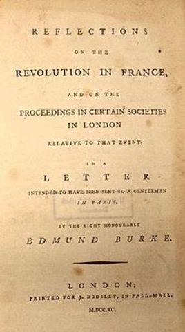 Sir Edmund Burke publishes Reflections on a Revolution