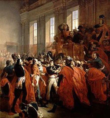 Golpe de Estado de Napoleón, con apoyo de los militares: se inicia el Consulado