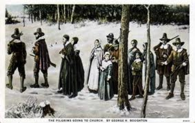 Pilgrims Arrive in Plymouth, MA
