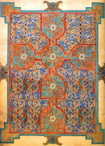 Lindisfarne Gospels: St. Matthew, cross-carpet page; St. Luke portrait page; St Luke incipit page