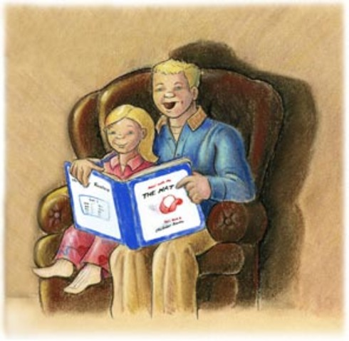 reading with stepdad, Clint