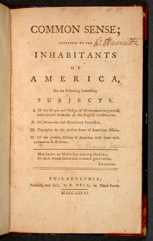 """Thomas Paine writes """"Common Sense"""""""