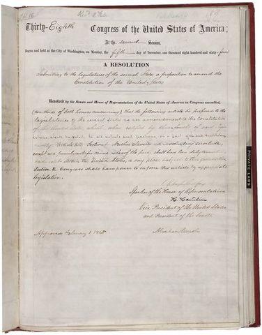 The Thirteenth Amendment is ratified
