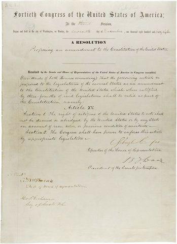 The Fifteenth Amendment is ratified