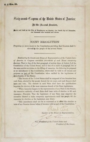 The Seventeenth Amendment is ratified