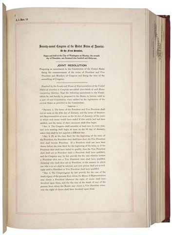 The Twentieth Amendment is ratified