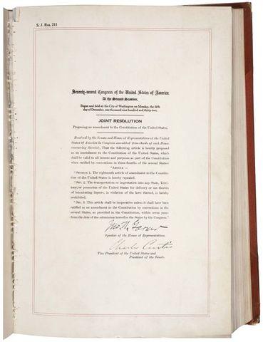 The Twenty-first Amendment is ratified