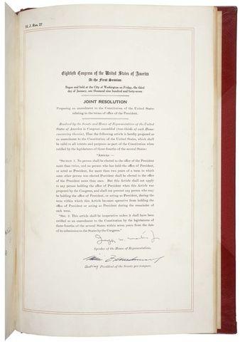The Twenty-second Amendment is ratified