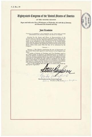 The Twenty-third Amendment is ratified