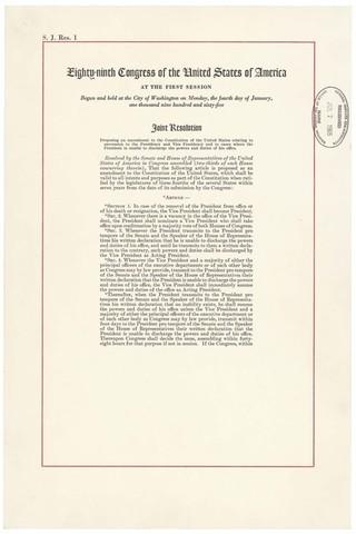 The Twenty-fifth Amendment is ratified