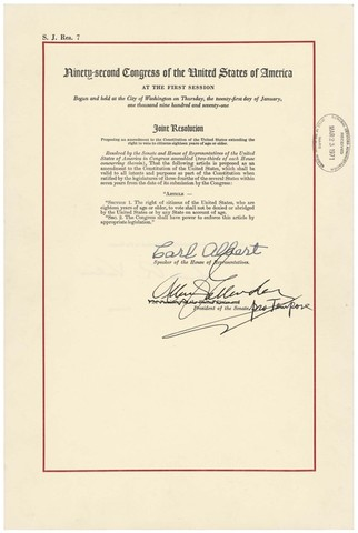 The Twenty-sixth Amendment is ratified