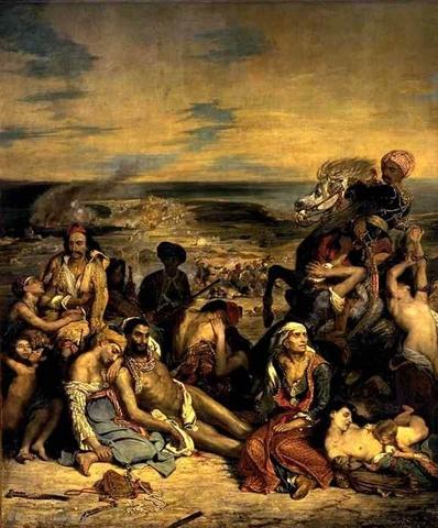 """Scène des massacres de Scio"" Delacroix"