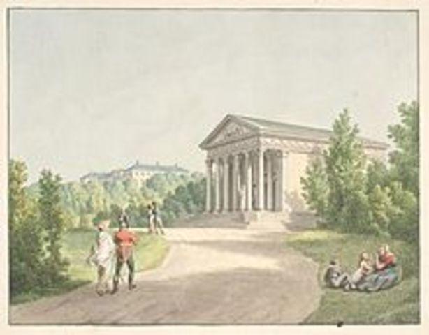 Fra Frederiksberghave ved slottet og Apistemplet. Af C.W. Eckersberg.