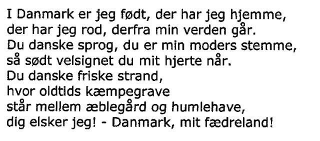 I Danmark er jeg født - strofe 1