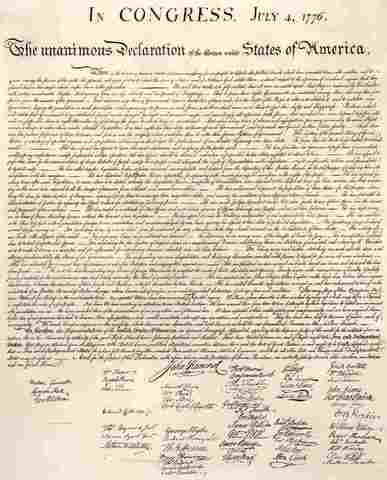Declaration of Independance adopted by Continal Congress