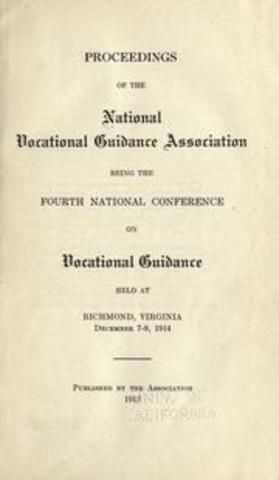 National Vocational Guidance Association was founded
