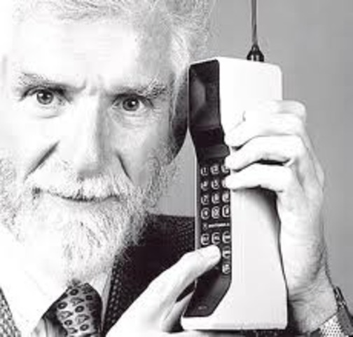 Martin Cooper makes the first call on a hand-held mobile