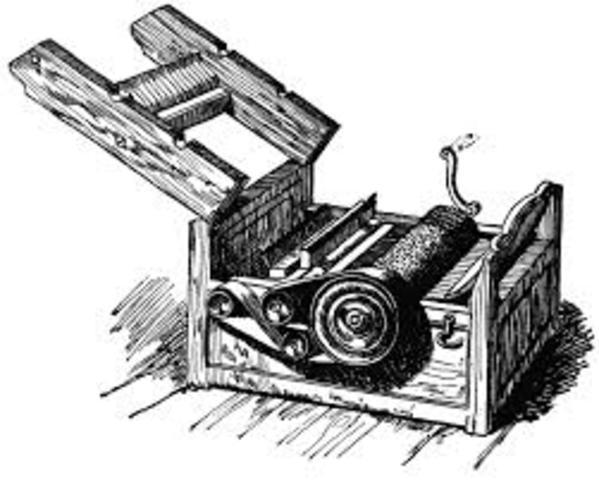 Eli Whitney patents the cotton gin.