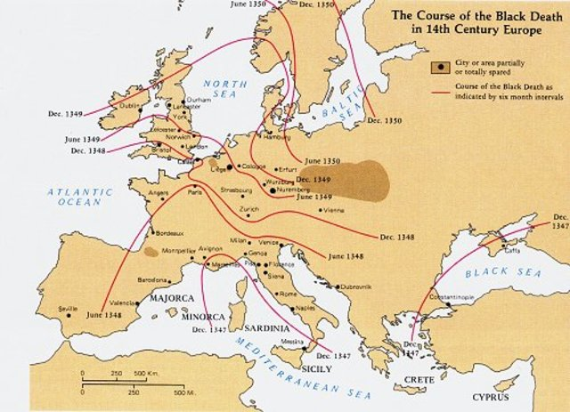 The black plague swept England and Europe.
