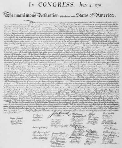 declaracion de independencia de Estados Unidos