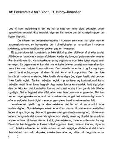 """Forsvarstale for """"Blod"""", R. Broby-Johansen 1922"""