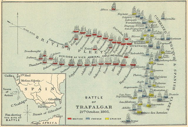(3) Map of the Battle of Trafalgar