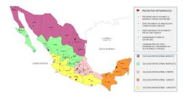 Circunscripción Territorial de Delegaciones Regionales de la SECTUR