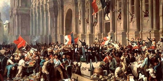 """Lamartine faisant acclamer le drapeau tricolore"" Philippoteaux"