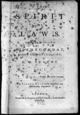 Baron De Montesque - On The Spirit of Laws