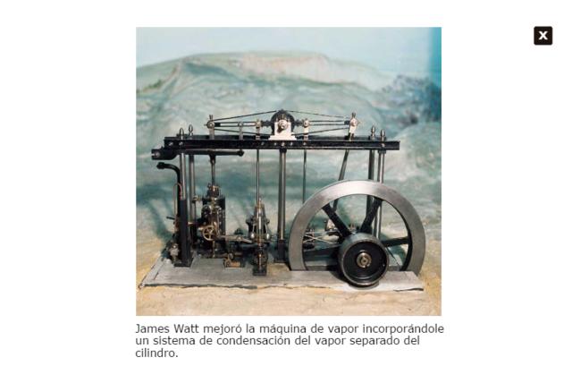 Invención de la máquina de vapor por James Watt.