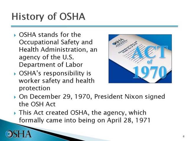 1970 Se Crea la OSHA