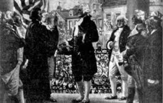 George Washington takes his Oath of Office as the First President of the United States