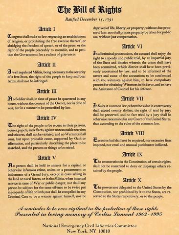 Bill of Rights (First 10 Amendments) Ratified
