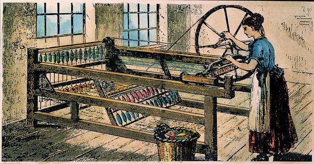 "Invención de la maquina de hilar ""Spinning Jenny"""