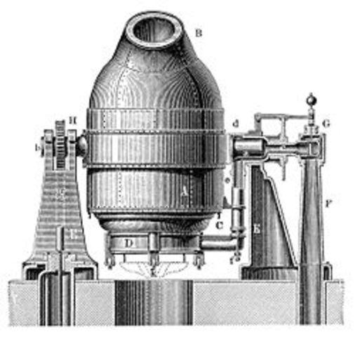 Se produce acero en serie por el procedimiento Bessemer.