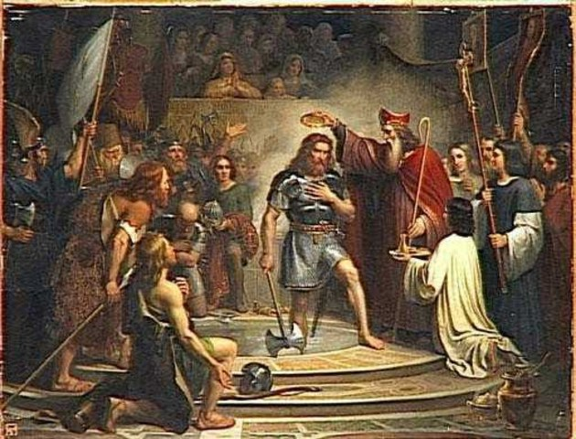 Guerra civil entre arrianos y católicos en el reino visigodo. Destrucción de los suevos en España.