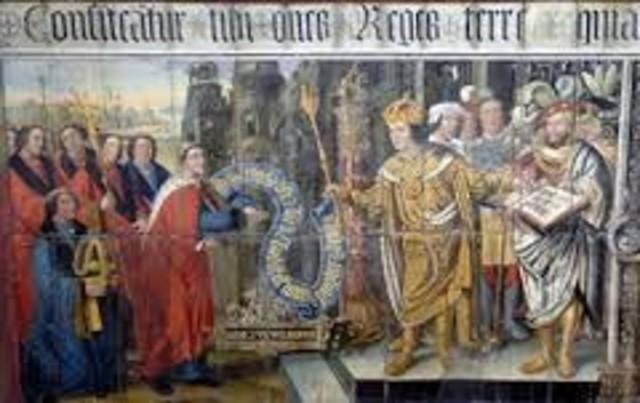 último reino pagano anglosajón, se convierte al cristianismo.