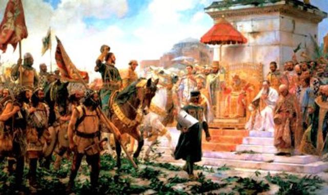 destruye a los lombardos e incorpora el norte de Italia al naciente Imperio Carolingio.
