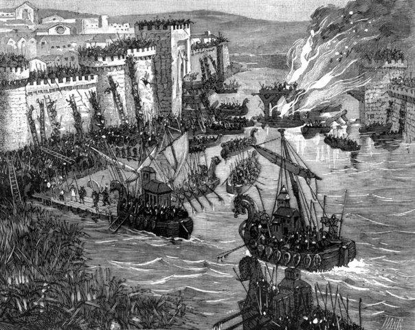 Primer ataque de los vikingos en Europa.