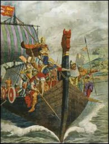 Incursión de los vikingos contra el norte de Francia.
