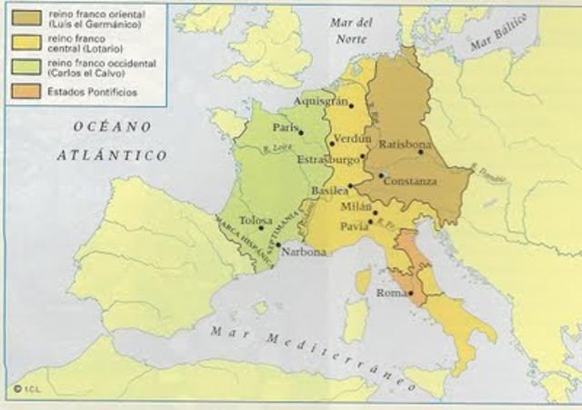 Tratado de Verdún. El Imperio Carolingio se divide definitivamente