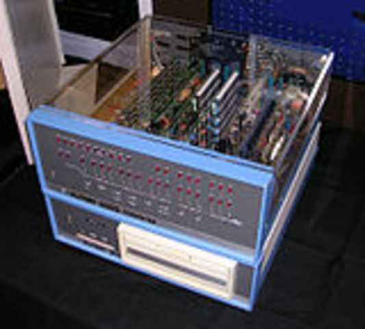 The MITS Altair, the first commercially successful microprocessor kit, was featured on the cover of Popular Electronics magazine in January 1975.