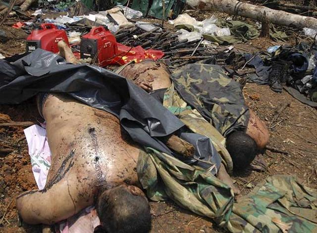 A Bogotá fueron trasladados cuerpos de los 22 guerrilleros muertos en operaciones en Putumayo (Parte 1)