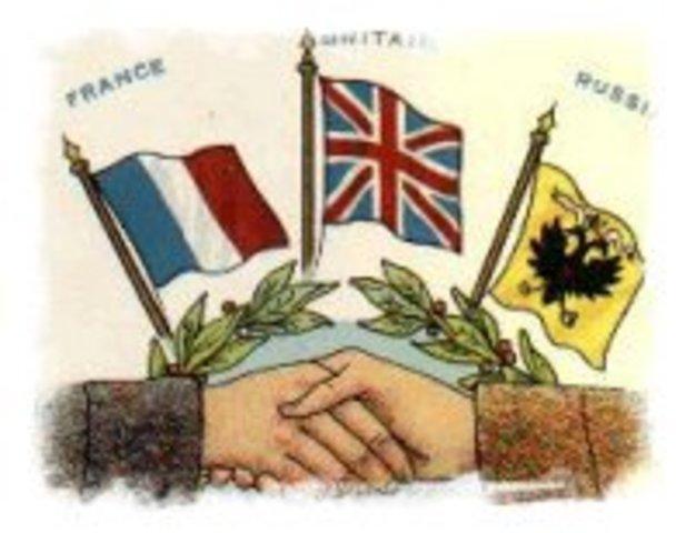 Triple Entente entre Francia, Rusia y Gran Bretana